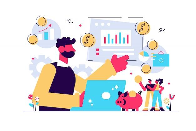 財務アナリスト。ビジネス戦略と予算計画。財務アドバイザー、トップ投資顧問、財務顧問サービスのコンセプト。明るく活気のあるバイオレット分離イラスト