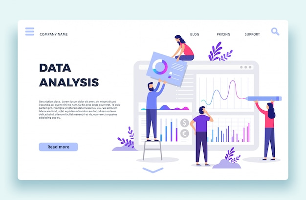 Finance analyst landing page. stock market forecasting, stocks statistic and business trends forecast flat  illustration