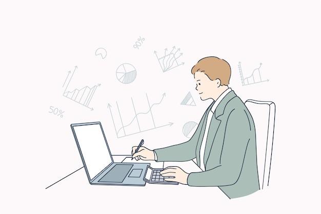 財務および税計算システムの概念