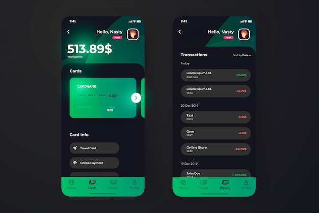 Finance app ui with transaction page, credit card holder information.