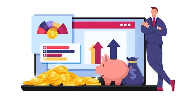 상인, 노트북, 그래프와 재무 감사 세금 보고서 또는 위험 분석 비즈니스 벡터 개념.