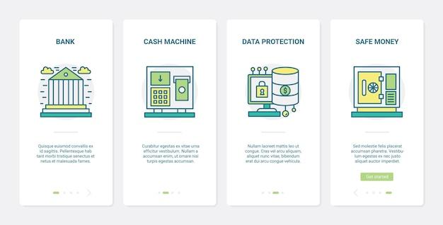 金融銀行保護テクノロジーux、uiオンボーディングモバイルアプリページ画面セット