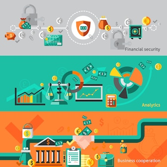 Finance banner set with elements
