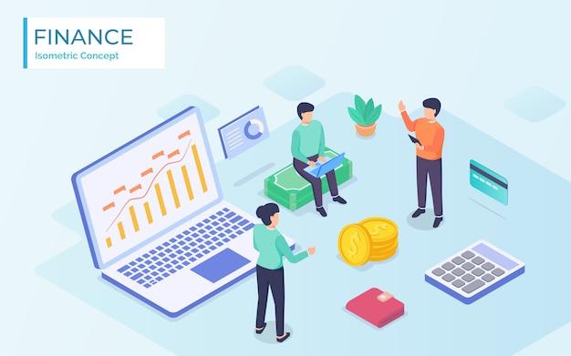 Финансовый анализ бизнеса с командой людей, работающих в современном изометрическом стиле