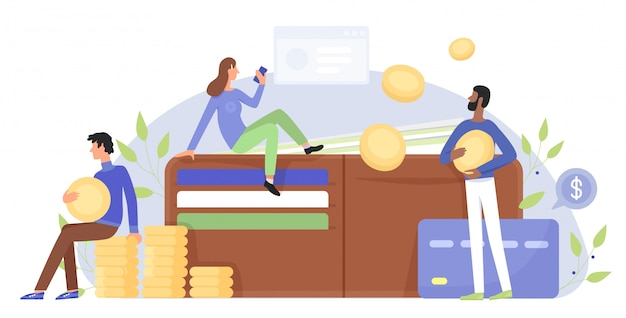 Finance, business character flat illustration concept with people near giant wallet