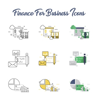Finance for business icon set
