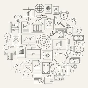 Финансы бизнес деньги линии набор иконок круглой формы. векторная иллюстрация объектов бизнеса и офиса. график и инфографика. деньги и финансы.
