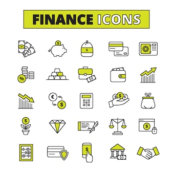 Finance business secure money exchange and saving bank operations symbols outlined pictograms set abstract  vector isolated illustration