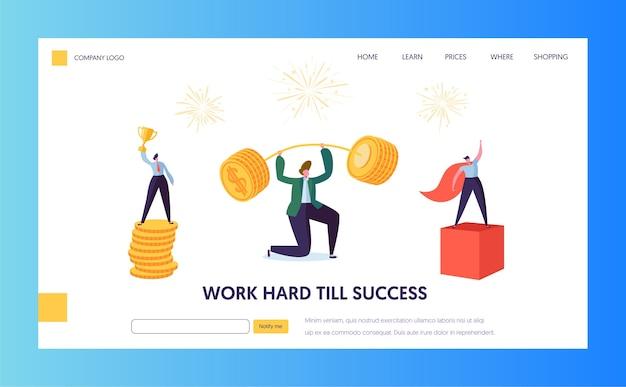 ファイナンスビジネスの成功キャラクターのランディングページ。