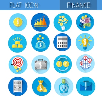 Finance collection colorful financial icon set