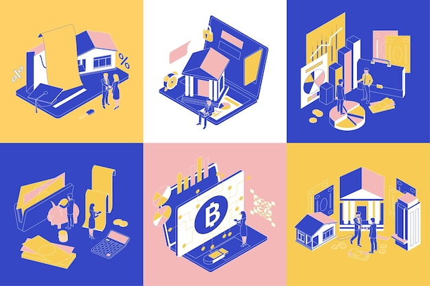 Finance concept design 6 isometric compositions with electronic wallet savings credit banking analysis stock exchange
