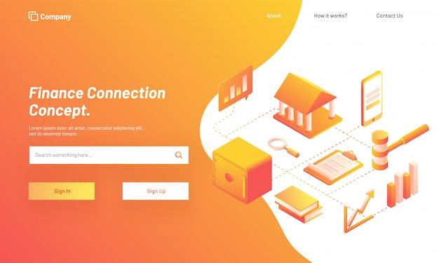 Finance connection concept, isometric design.