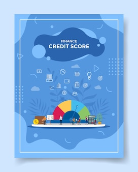 Finance credit score concept for template of flyer