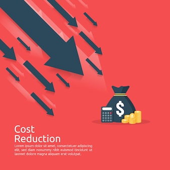 Finance crisis concept. stack pile coins and money bag. cost reduction. loss of income.