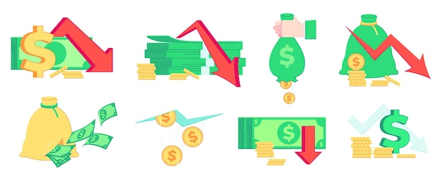 금융 위기, 돈 손실. 경기 침체, 파산 및 시장 실패. 나쁜 소득, 파산 및 인플레이션 비즈니스 그림을 설정합니다.