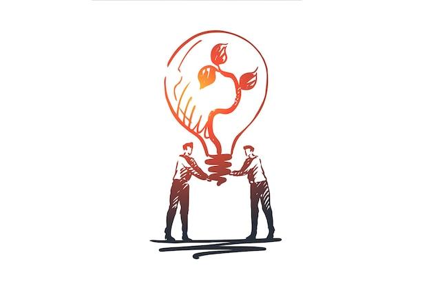 금융, 경제, 이익, 성장, 돈 개념. 손으로 그린 두 사람 손 개념 스케치에 전구를 개최.