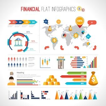 財務フラット・インフォグラフィック