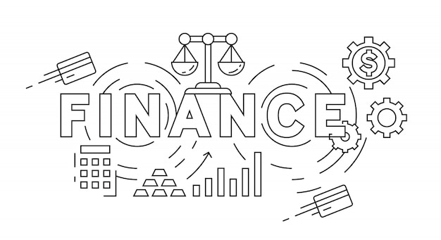 Finance flat line design concept