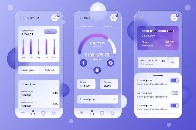 Набор нейморфных элементов финансового стекломорфного дизайна для мобильного приложения ui ux gui screen set