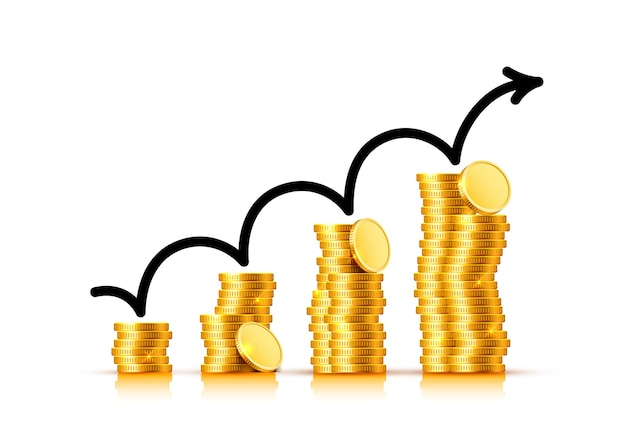 Стрелка диаграммы роста финансов с золотыми монетами на прозрачном фоне. векторная иллюстрация