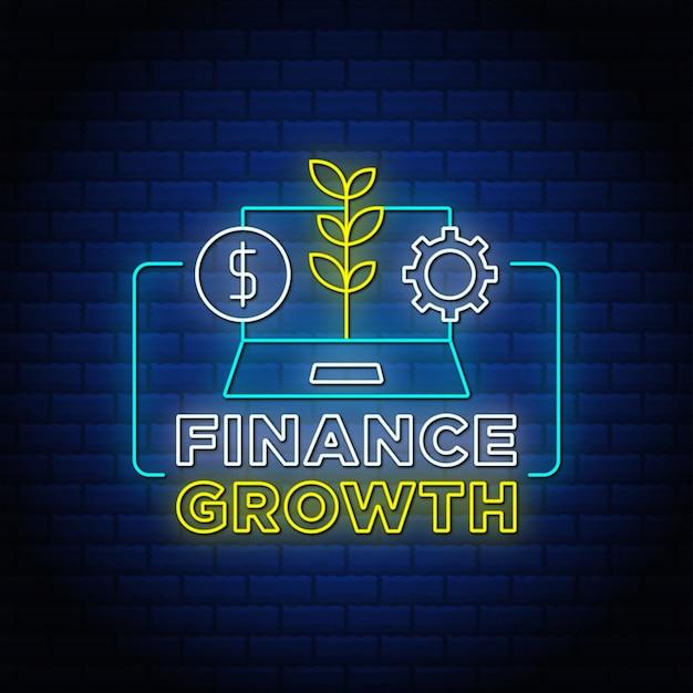 Дизайн текста стиля неоновых вывесок роста финансов с голубой стеной.