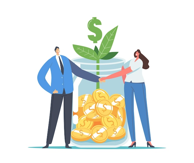 Finance help, mutual fund business concept. office characters businessman and businesswoman shaking hands at huge glass jar with gold coins, green sprout and dollar sign. cartoon vector illustration