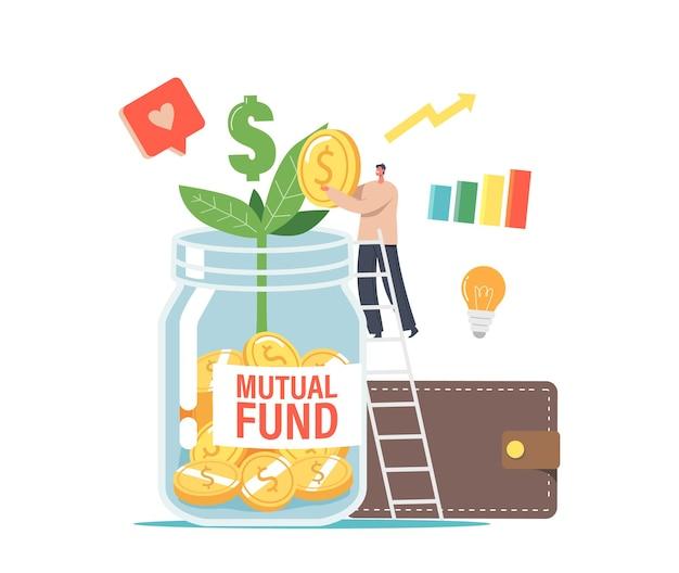 Финансовая помощь через бизнес-концепцию взаимного фонда. офисный персонаж или бизнесмен положил золотую монету в огромную стеклянную банку с зеленым ростком, лампочкой, диаграммой роста и бумажником. векторные иллюстрации шаржа