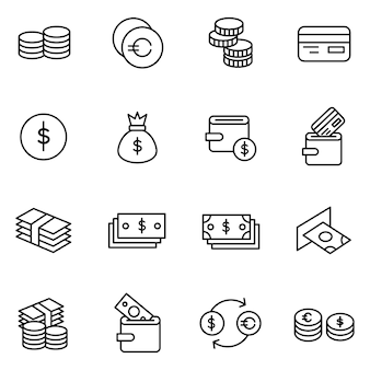 Finance icon pack, outline icon style
