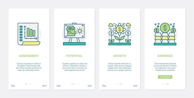 금융 소득 이익, 소득 지불. ux, ui 온 보딩 모바일 앱 세트 재무 평가, 잠재적 수익 성장 증가, 머니 플랜트 기호 증가