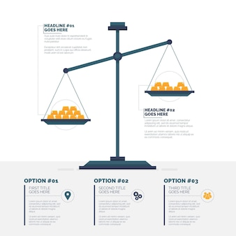 Finance infographic with balance scale