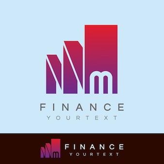 금융 초기 편지 m 로고 디자인