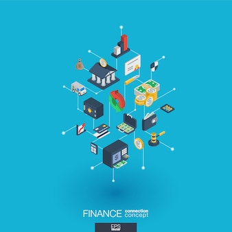금융 통합 웹 아이콘입니다. 디지털 네트워크 아이소 메트릭 상호 작용 개념. 연결된 그래픽 도트 및 라인 시스템. 돈 은행, 시장 거래에 대 한 추상적 인 배경. 인포 그래프