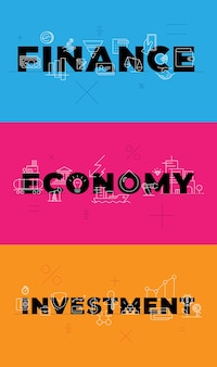 Finance investment economy on blue orange pink background conceptual visualization words vector