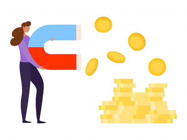 Финансовые инвестиции, иллюстрации. магнит привлекает деньги для бизнес-концепции, женщина-персонаж держит власть за монетную прибыль