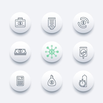 Finance, investments, investment analysis, line round modern icons,