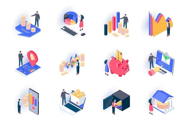 금융 아이소 메트릭 아이콘 설정합니다. 주식 거래, 자본 투자 평면 그림. 금융 거래, 은행 계좌, 돈 소득 및 지불 사람들이 문자로 3d 아이 소메 트리 그림 문자.
