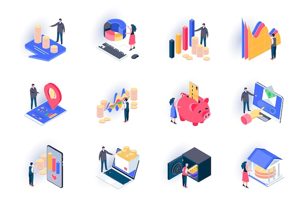Finance isometric icons set. stock trading, capital investment flat illustration. financial transaction, bank account, money income and payment 3d isometry pictograms with people characters.