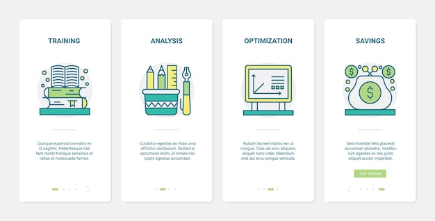 Finance knowledge to increase money savings ux onboarding mobile app page screen set