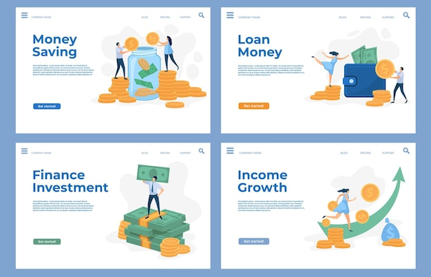 Finance landing pages with flat characters and money cash. savings, business investment, loan and income growth vector website templates set. wealthy people holding banknotes and coins