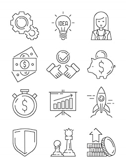 Finance line icons. business symbols team strategy and economic support web startup outline