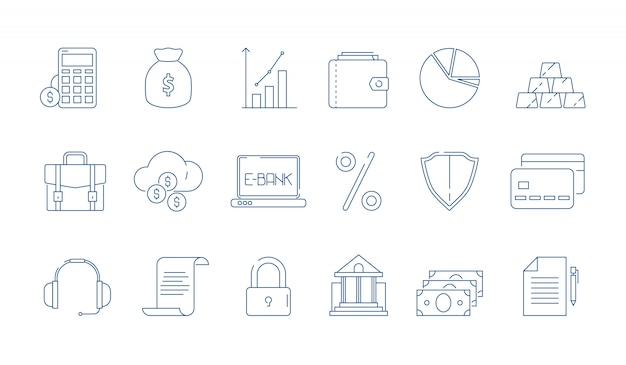 Finance linear element icon set