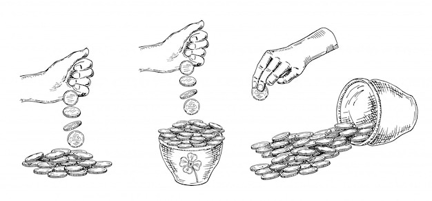 Finance, a lot of money. pile of coins, money in a pot hand drawn sketch collection, on white background. black and white  illustration.