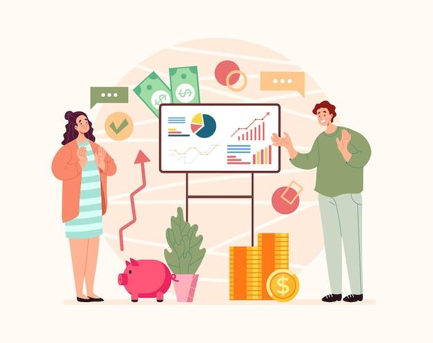 여성 소비자 컨설턴트 재정 고문 개념에 대한 상담을 제공하는 재무 관리자 캐릭터
