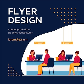 Finance managers working with clients isolated flat flyer template