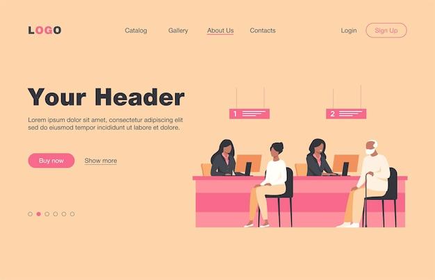 고객과 함께 일하는 재무 관리자는 평면 방문 페이지를 격리합니다. 환전을 위해 은행 사무실에 앉아 만화 사람들. 은행 내부 및 신용 부서 개념