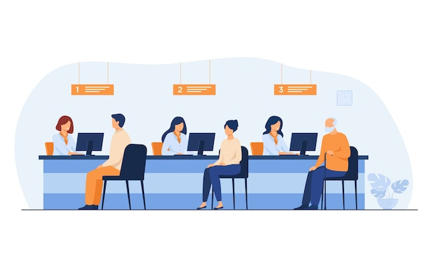 Finance managers working with clients isolated flat vector illustration. cartoon people sitting in bank office for money exchange.