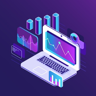 Finance market analysis isometric 3d charts on business tablet laptop.