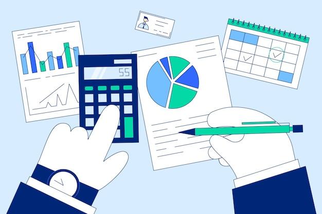 財務、マーケティング、税計算システムの概念。