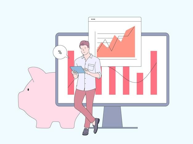 財務、マーケティングデータ分析の概念。財務データを分析するビジネスマンの労働者の漫画のキャラクター。