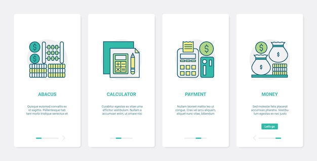 Finance methods of counting money payment ux ui onboarding mobile app page screen set